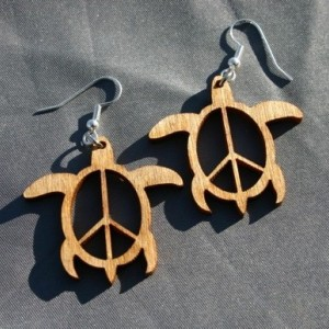 Wooden Peace Sign Turtle Dangle Earrings - FREE US SHIPPING