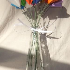 Rainbow Dreams Origami Flower Bouquet a Vase, Origami Flower Arrangement, Sympathy Flowers, Floral Arragment, Wedding Centerpiece