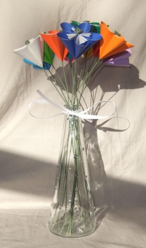rainbow origami flower bouquet
