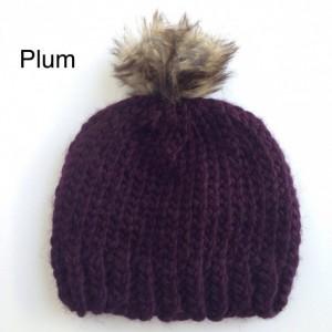 Hand Knit Beanie, Faux Fur Pom Pom
