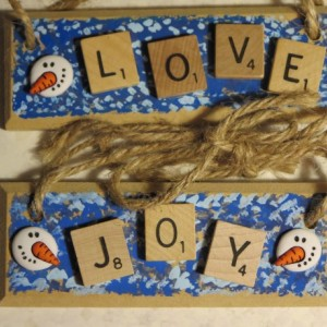 Set of 2 Scrabble® Game Tile Wooden Plaques Love & Joy