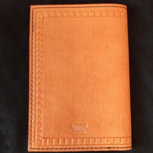 Leather Notebook, Refillable, Peachy Color, Serpentine Border Design