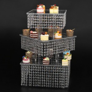 diagonal Cupcake Stand 3 Tier Large Square real crystal and Freestanding Style Wedding focal Cupcake Tower 160