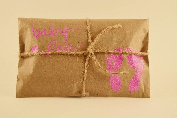 10 Baby Shower Favors. Pink and Kraft Paper Favors. Fresh Roasted Coffee. Embossed Favors. Handmade. Baby Love. Baby Girl