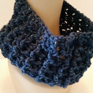Outlander Cowl Scarf - Outlander Inspired, Claire Sassenach Scarf, Crochet Scarf, Handmade Scarf, Navy Scarf, Infinity Scarf, Gift for Her