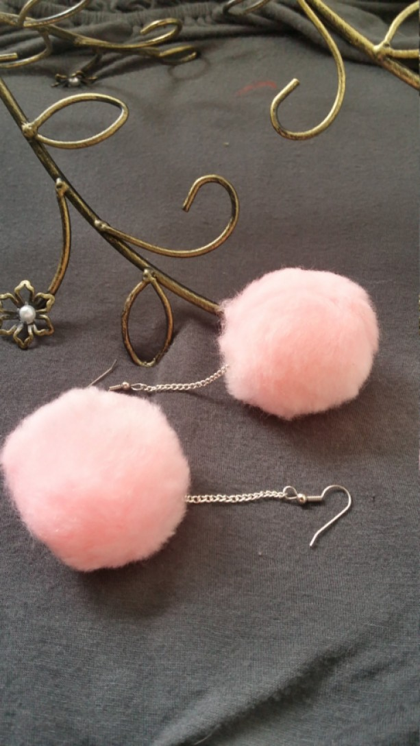 Pink Pom Pom Earrings