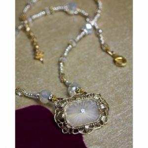 Victorian Camphor Glass Brooch Necklace