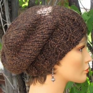 Brown Slouchy Knit Beanie