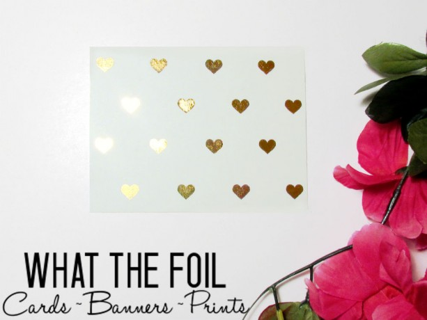 Gold Foil Hearts on White Greeting Card with Envelope (6 Cards)