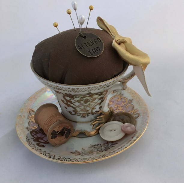 Vintage Tea Cup Pin Cushion - Altered Royal Crown Set