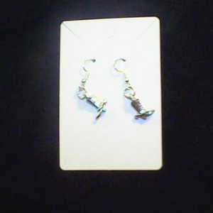 Western Boot with Spears Silver colored earring Homemade