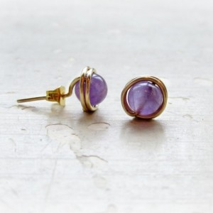 Amethyst Stud Earrings, Gold Wire Wrapped, February Birthstone, Purple Post Earrings, Gemstone Studs, Bridesmaid Studs,Amethyst Post Earring