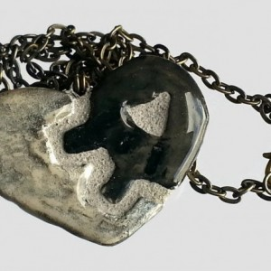 Heart Necklace  Clockwork Gears  Steampunk Black Gray and Silver Heart Pendant - REVERSIBLE
