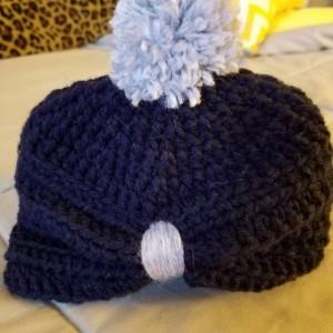 Baby turban with pom pom. Baby hat. Toddler accessory