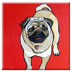 DOG TILE - Red PUG - Signed By Artist A.V.Apostle