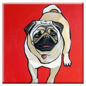 DOG TILE - Red PUG - Signed By Artist A.V.Apostle