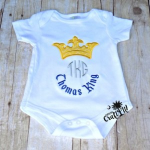 Baby Boy Prince Charming, Crown, Monogrammed, Baby bodysuit, Toddler, Boys, Embroidered, Personalized