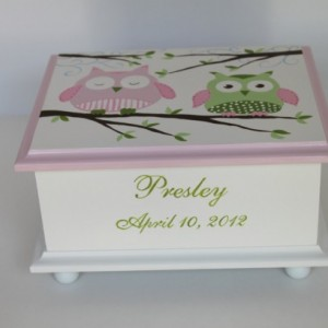 Baby Keepsake Memory Box pink and green owls personalized baby gift