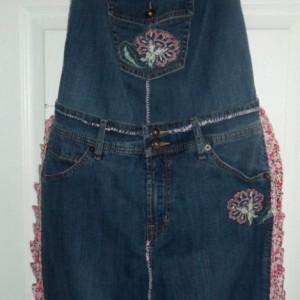 Blue Jean apron - Pink flowers