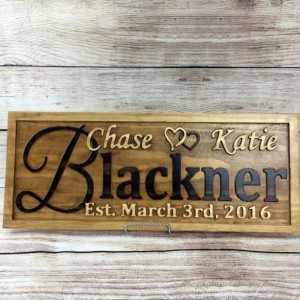 Personalized Family Name Signs Wedding Gift Custom Carved Wooden Sign Last Name Décor Established Wood Plaque 3D Engraved Couple Anniversary