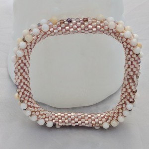 Rose Gold Square Bead Crochet Bangle