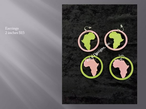 Pink and Green Africa Circle earrings