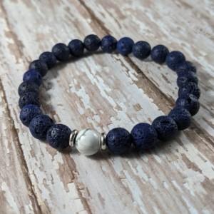 The Kaden | handmade beaded stretch bracelet, lava rock beads, howlite focal bead, navy blue bracelet, men's / unisex jewelry, Gifts for Him