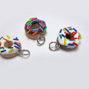 Doughnut Charm Earrings, Donut Charm Earrings, Rainbow Sprinkle Doughnut Charm, Vanilla Frosted Donut, Chocolate Cake Donut, Cake Doughnut