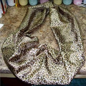 "Infinity Scarf - Leopard Print Infinity Scarf, silk. (7.5""x29"") country chic, high fashion for women"