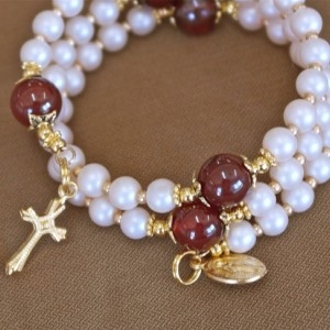 Glass Pearl and Carnelian Rosary Bracelet