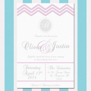 Printable Pink and Gray Chevron Wedding Invitation, Fun and Elegant, Customizable, Digital Invitation, Chevron Pattern