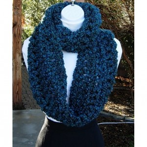Bulky INFINITY SCARF Loop Cowl, Dark Teal Blue, Green, Red, Large Thick Soft Warm Wide Winter Handmade Crochet Knit, Ready to Ship in 3 Days