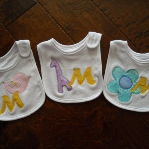 CUSTOM  baby INITIAL  BIB  baby shower gift personalized baby girl pair of  bibs