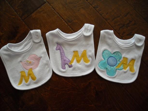 CUSTOM  baby INITIAL  BIB  baby shower gift personalized baby girl pair of  bibs
