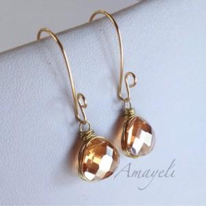 Amber earrings, gold drop earrings, Champagne earrings, bezel wrapped dangle earrings, teardrop earrings, bridal jewelry, elegant earrings