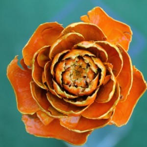 Orange Hand-Painted Cedar Rose Pine Cone Flower