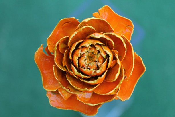 Orange Hand-Painted Cedar Rose Pine Cone Flower