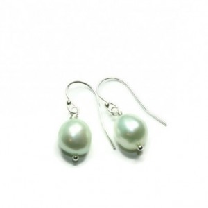 Dainty Mint Pearl Earrings, Freshwater Pearl and Sterling Silver, Bridesmaids Pearls, Wedding Earrings