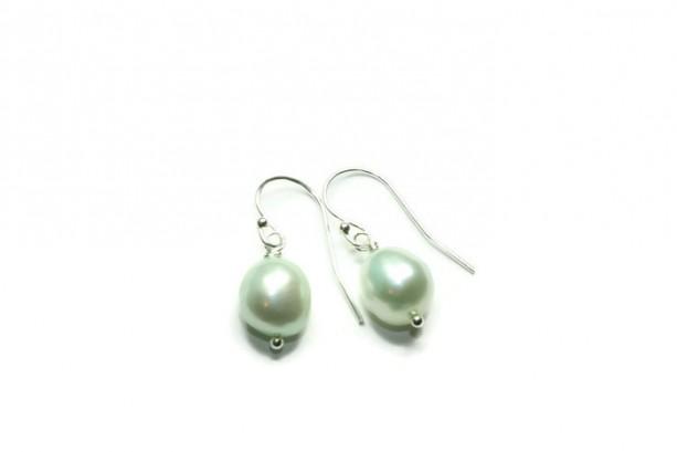 Dainty Mint Pearl Earrings, Freshwater Pearl and Sterling Silver, Bridesmaids Pearls, Wedding Earrings