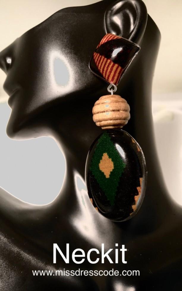 Resin African Kente Print Fabric and Wooden Bead Earrings