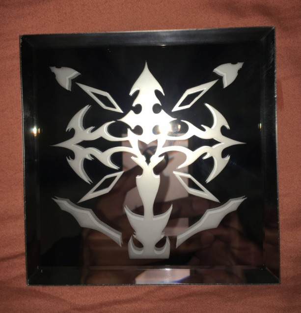 Tribal Winged Cross Logo Mirror Glass Etching