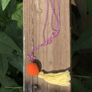 Upcycled Orange Brain Eraser Toy with Tassel Necklace - Brain Jewelry - Tassel Necklace