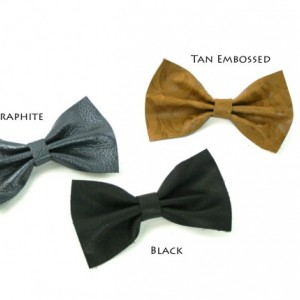 Large Leather Hair Bow - genuine leather barrette - black, gray, tan