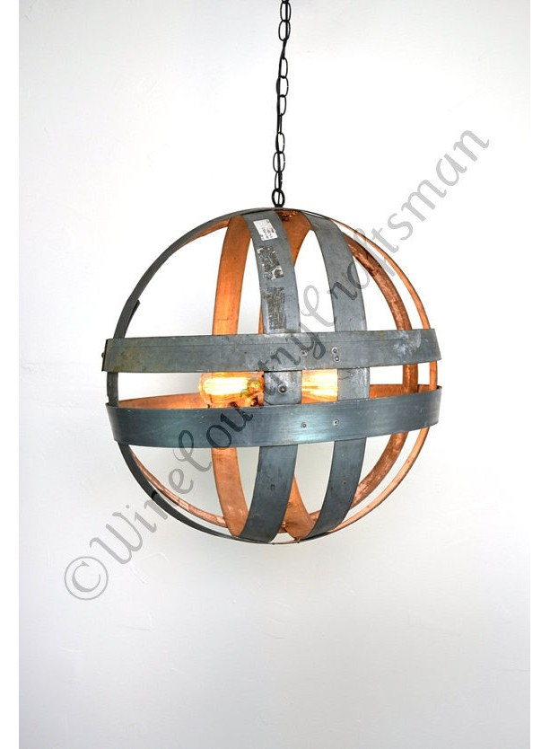 ATOM Collection - Cyclopean - Wine Barrel Double Ring Chandelier /  made from salvaged Napa wine barrel rings - 100% Recycled!