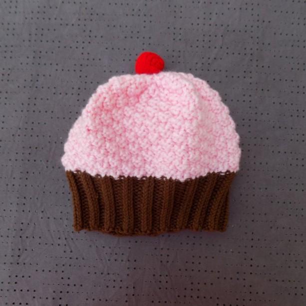 Toddler Knit Cupcake Hat - Pink