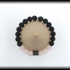 Matte Rose Quartz Gemstone and Lava Rock Diffuser Bracelet