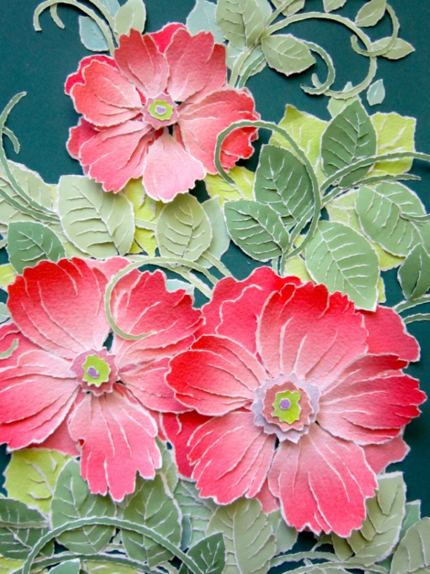 "Torn Paper - Wild Roses, 12 3/4 X 17 1/2"""