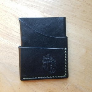Leather Card Wallet Black with OD green thread
