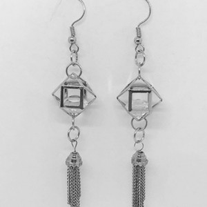 Cage swarovski drop earrings with tassel