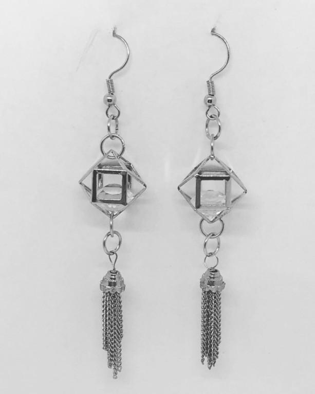Cage swarovski drop earrings with tassel